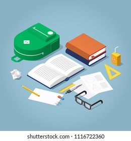 Vector isometric school homework concept illustration. Stack of books, backpack surrounded with papers and, stationery. Read up for exams.