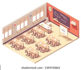 Vector isometric school mathematics classroom interior cross-section. School desks, chairs, blackboard