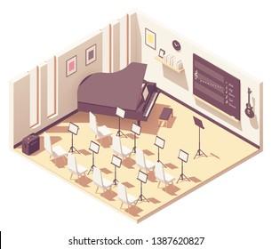 Vector isometric school music classroom interior cross-section. School desks, chairs, blackboard, projector with screen