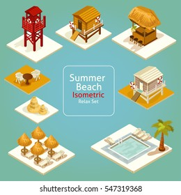 Vector isometric seashore set. 3D holiday concept. Detailed set of isometric icons or infographic elements.
