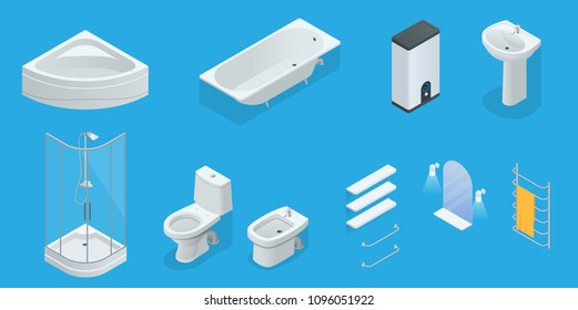 Vector isometric set of bathroom furniture. Jacuzzi, bath, boiler, washbasin, shower, shower, toilet, bidet, dryer, towel, mirror, shelves flat interior design home icons.
