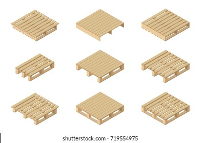 Vector isometric set of different wooden pallets. Isolated on white background. Flat style.