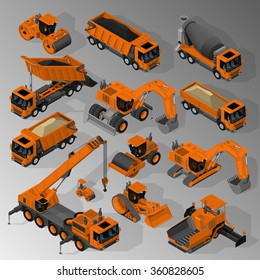 Vector isometric set of equipment for the construction industry consisting of mixer truck, dump trucks, tracked and wheeled excavators, road rollers, asphalt paver, bulldozer and mobile crane.