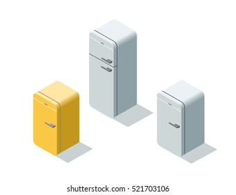 Vector isometric set of fridges, 3d flat refrigerator, kitchen equipment object, home constructor element.