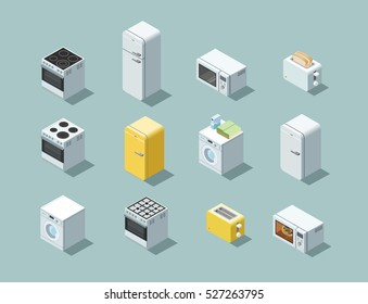 Vector isometric set of household appliances icon, 3d flat interior design object.