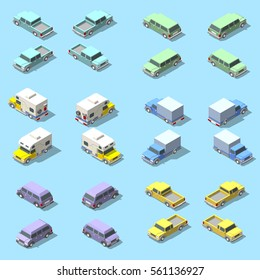 Vector isometric set of pickup truck. Isolated on a blue background