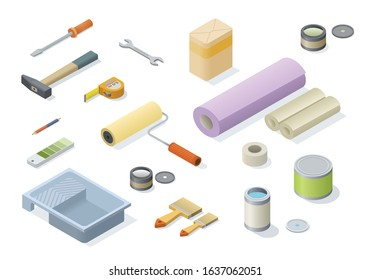 Vector isometric set of repair tools for home. Geometric Items for wallpapering and carpentry work.