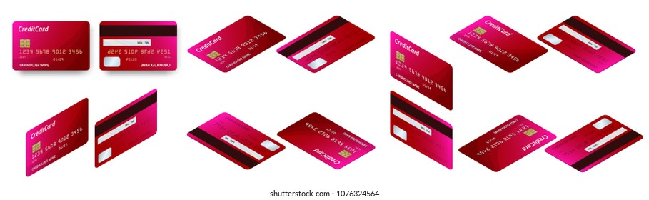 Vector isometric set of Templates of credit cards design. Plastic credit card or debit card.