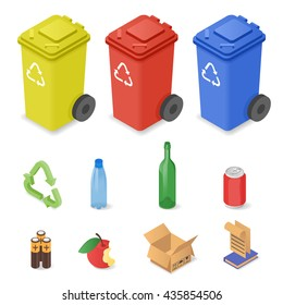 Vector isometric set of waste sorting cans. Icons for different kinds of trash: plastic, glass, batteries.
