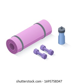 Vector isometric set of yoga fitness equipment items, home aerobic