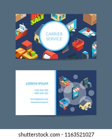 Vector isometric shipping and delivery business card template illustration isolated