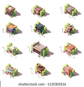 Vector isometric shop and stores icon set. Includes barber shop, nail bar, clothes, jeans and sportswear stores, pharmacy, vape shop, bicycle shop and other