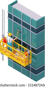 Vector isometric skyscraper windows cleaning. Suspended scaffold, construction cradle or suspended platform, high-rise building glass facade, worker washes window with brush