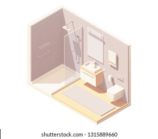 Vector isometric small bathroom interior cross-section with shower cabin, washbasin, toilet, and towel warmer