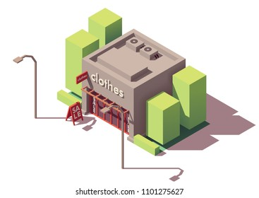 Vector isometric small clothing store or boutique building with sale signboard