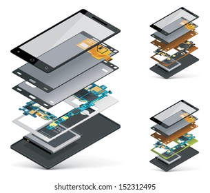 Vector isometric smartphone cutaway showing inner parts and hardware - touchscreen, motherboard, battery etc