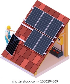Vector isometric solar panel installation. Worker on the house roof installing alternative energy photovoltaic solar panels. Electric batteries, switchboard or distribution board