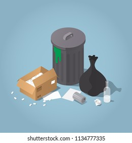 Vector isometric sorted trash illustration. trash bin with black plastic trash bag, cardboard box, glass bottle, metal can, and papers. Waste products concept.