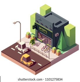 Vector isometric sports and fitness store with sale signboard and bicycles on the display