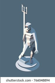 Vector isometric statue illustration, of Neptune, ancient Roman God of  water and the sea.