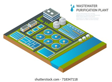 Vector isometric storage tanks in sewage water treatment plant. Dirty wastewater. Discharge of liquid chemical waste. The danger for the environment.