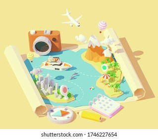 Vector isometric summer travel and vacation illustration. Summer travel map. Escape from city to tropical paradise. Airplane, yacht, balloons. Summer vacation planning with compass, calendar, camera
