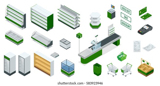 Vector isometric supermarket interior plan. Image includes Cash Truck, check, credit card, money, payment, product, purchase, scanner, furniture and equipment. Shelves for different kinds of goods.