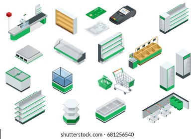 Vector isometric supermarket interior plan. Image includes Cash Truck, check, credit card, money, payment, product, purchase, scanner, furniture and equipment. Shelves for different kinds of goods
