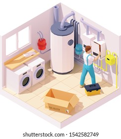 Vector isometric technician or plumber on gas boiler or hot water heater installation or repair. Boiler room, modern water heating system, water tank