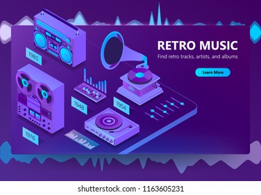 Vector isometric template of site of online listening retro music, old songs. Illustration with mixer, gramophone, player with audio cassettes and other in violet, ultraviolet color