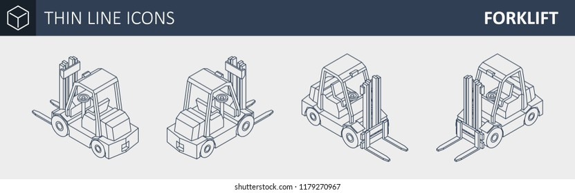Vector Isometric Thin Line Forklift Truck. Storage Equipment in Different Projections. Thinline Style Illustration.