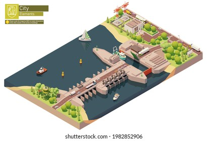 Vector isometric tidal power plant. Tidal electricity production by power station barrage with lock gates. Tidal energy generating electricity
