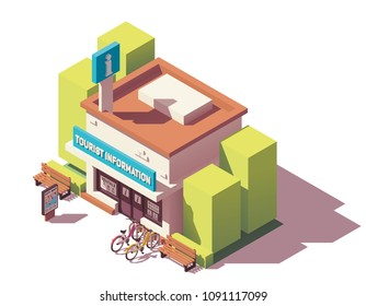 Vector isometric tourist information or visitor center office building with bicycle rental