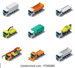 Vector isometric transport. Trucks icon set