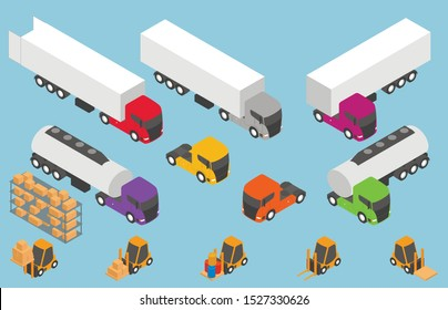 Vector isometric transport. Trucks with semi-trailers icon set