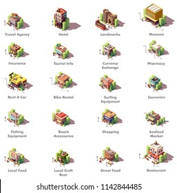 Vector isometric travel and tourism icons representing different tourism related buildings and facilities, hotel, landmarks, museum, travel agency, money exchange, shops, car rental, restaurants