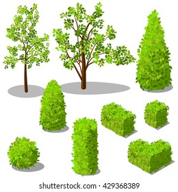 Vector isometric trees and decorative bushes.