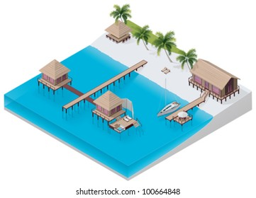 Vector isometric tropical resort icon with apartment buildings on the beach and on the sea water