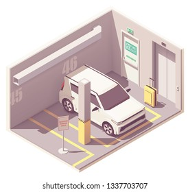 Vector isometric underground car parking garage with reserved parking space, fire exit and elevator door