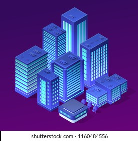 Vector isometric urban architecture building of modern city with street, skyscraper, and town   house. For business illustration and construction map shape background