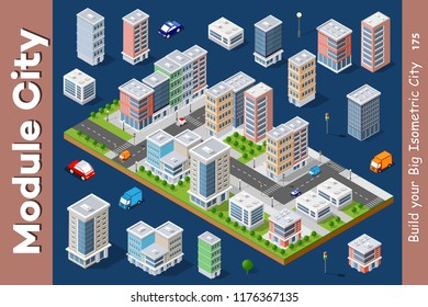 Vector isometric urban architecture building of modern city with street, skyscraper, and town, house. For business illustration and construction map shape background