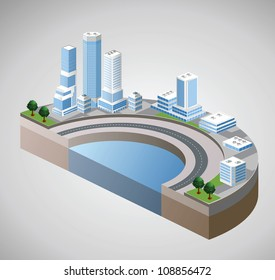 Vector isometric view of the harbor and skyscrapers