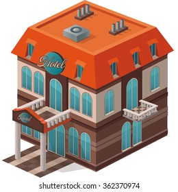 Vector isometric view of the hotel building