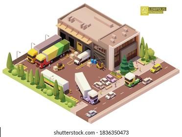 Vektorisometrischer Lagerbau. Außengebäude des Lagerhauses. Industrieanlage. Büro, Ladedocks, Gabelstapler, Paletten, Lastkraftwagen. Bauelemente für die Isometrie von Stadt- oder Stadtplan