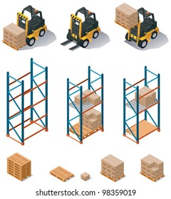 Vector isometric warehouse equipment icon set - forklift carrying pallets with boxes, storehouse shelves