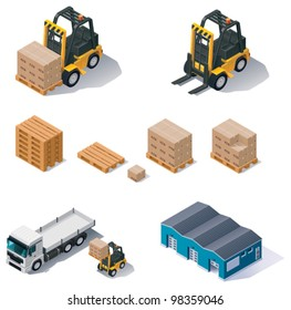 Vector isometric warehouse equipment icon set. Included forklift, boxes with pallets, warehouse building and truck