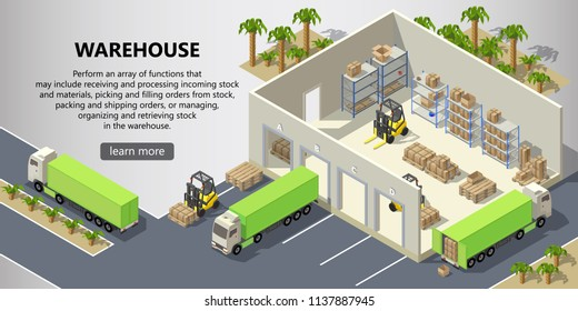 Vector isometric warehouse with interior inside, delivery service. Storehouse with boxes for shipping, trucks, forklifts with cargo. Web page with button and space for text, logistics concept banner