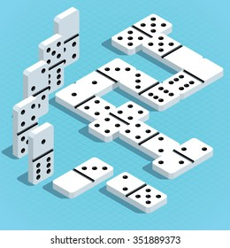 Vector isometric white dominoes on blue background