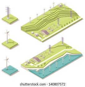 Vector isometric wind farm generating electricity. Image includes two versions of power station with offshore and mountain wind mills placement