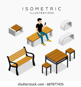 Vector isometric wooden bench collection with man shirt black vector illustration